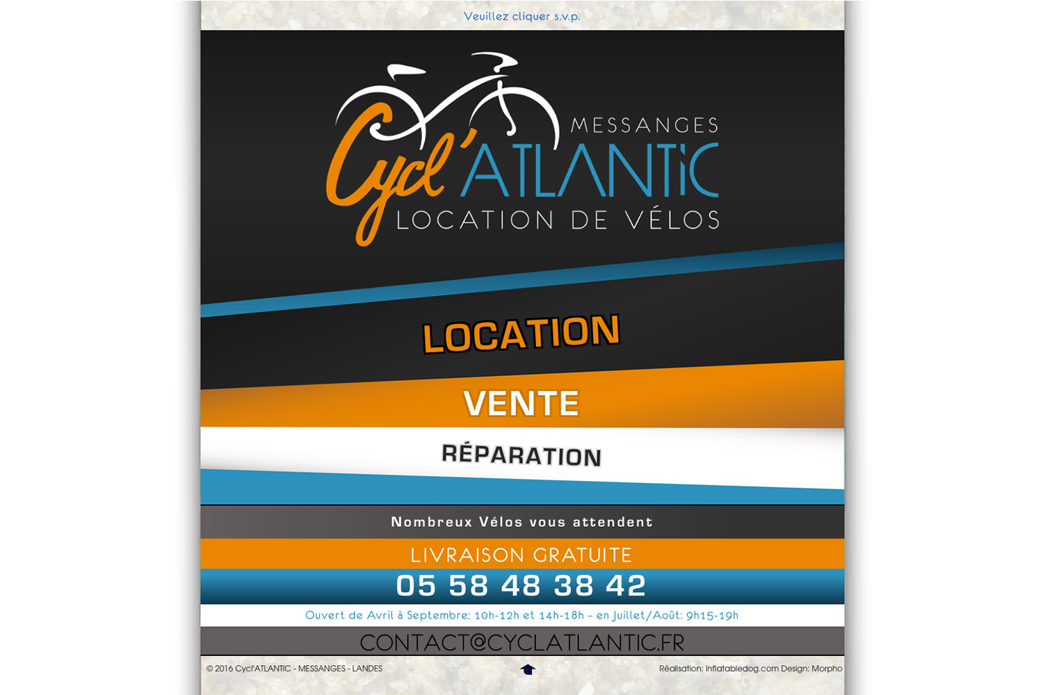 www.cyclatlantic.fr - www.inflatabedog.com web design